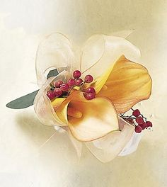 mini calla pin on corsage (white with coral berries instead)