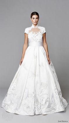 jani khosla 2015 bridal high neck mandarin nehru collar short sleeves sheer keyhole chest butterfly embroidery white ball gown wedding dress papillon