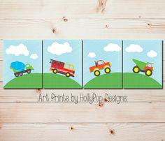Boys Room Art Prints-Transportation Decor Nursery Art-Set of 4 Prints boys room-Bright Colorful Art-Dump truck fire engine automobile decor