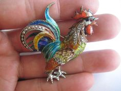 Vintage S & F Sterling Silver Multi Color Enamel 3D Detailed Rooster Pin Brooch  #SF