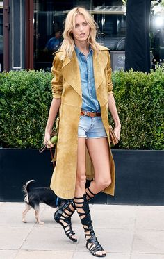 Double denim with a trench and gladiators.
