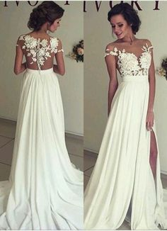 Elegant Lace Appliques 2016 Wedding Dress Long Chiffon Split_High Quality Wedding Dresses, Quinceanera Dresses, Short Homecoming Dresses, Mother Of The Bride Dresses Strapless Lace Wedding Dress, 2016 Wedding Dresses, Wedding Gowns, Lace Dress, Dress Long, Lace Chiffon, Dresses 2016, Cheap Wedding Dress, Wedding Ceremony