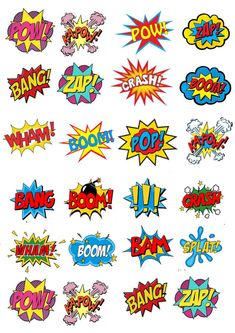 24 x Comic  ( Zap Pow ) Cup Cake Toppers ICING in Home, Furniture & DIY, Cookware, Dining & Bar, Baking Accs. & Cake Decorating | eBay!