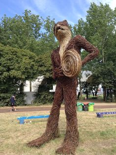 Mr Fox willow sculpture about 15 feet amazingly crafted The Glade Glastonbury