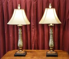 Pair of Table Lamps - Gold/Bronze Painted from the Hotel MacDonald