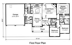 First Floor Plan of Ranch   House Plan 92616