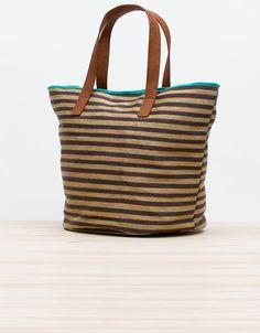 Oysho Striped beach shopper bag  #bag #beach #summer