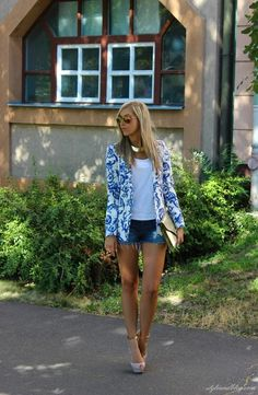 Blue print blazer.