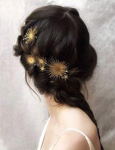 pretty bridal hair accessories by luna bea Pretty Hairstyles, Wedding Hairstyles, Hairstyle Ideas, Bridal Hairstyle, Bridal Hair Pins, Hair Wedding, Curly Hairstyles, Headband Hairstyles, Boho Wedding