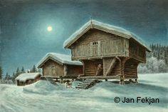 Jan Fekjan: Måneskinnskveld Giclee Print, Cabin, Fine Art, House Styles, Prints, Artist, Home Decor, Homemade Home Decor, Cabins