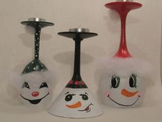 Champagne Glass Candle Holders   Snowmen Wine Glass Candle Holders Set of 3 by ButterflyKisCreation, $ ...