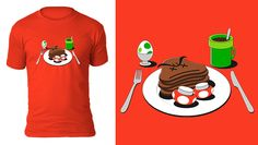 It's-a breakfast time! My Mario inspired video game t-shirt design.