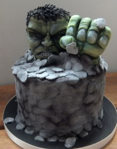 Incredible Hulk cake - modelling chocolate head and fist.