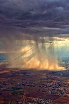 Rain over Colorado seen from the air.