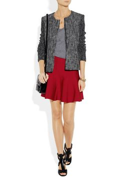 Hervé Léger|Flared bandage mini skirt|NET-A-PORTER.COM ~im really into minis with tights for winter. i dunno why.