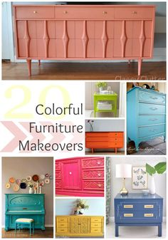 Colorful Furniture Makeovers - Home Decoration and Diy Refurbished Furniture, Paint Furniture, Repurposed Furniture, Furniture Projects, Furniture Making, Furniture Makeover, Home Projects, Do It Yourself Furniture, Colorful Furniture