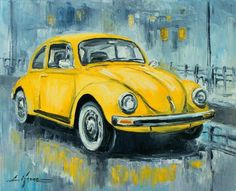 Vw Beetle Art Print by Luke Karcz. All prints are professionally printed, packaged, and shipped within 3 - 4 business days. Choose from multiple sizes and hundreds of frame and mat options. Car Drawings, Arte Pop, Car Painting, Yellow Painting, Vw Beetles, Art Design, Art Cars, Painting Inspiration, Fine Art America
