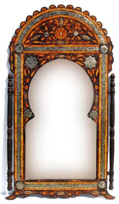Moroccan mirror frame with silver inlays and camel bones Moroccan Mirror, Moroccan Bedroom, Unique Mirrors, Home Decor Mirrors, Vintage Mirrors, Fancy Mirrors, Antique Frames, Princess Mirror, Exotic Homes