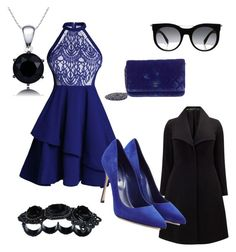 """""""Black and Blue"""" by hollylightwood ❤ liked on Polyvore featuring Chanel, Dsquared2, Alexander McQueen, Studio 8, Sergio Rossi and plus size clothing"""