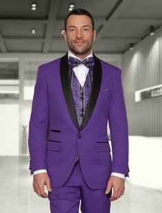 3PC 1 BUTTON PURPLE WITH SHAWL LAPEL MENS SUIT + BOWTIE  (SIZE 46L/40W) #OneButton