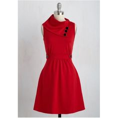 Coach Tour Dress in Rouge With foldover, ascot-style collar, pewter buttons, and front pockets, this sleeveless red frock is as cute as it is comfortable. Would be great paired with tights and a cardigan! Worn only three times.   78% Polyester, 18% Rayon, 4% Spandex. Hand wash. Side pockets. Unlined. Decorative buttons. Comes from a smoke-free, pet-free home. ModCloth Dresses Mini