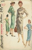 An original ca. 1956 Simplicity Pattern 1678.   Junior Misses and Misses Dress and Jacket: A charming town fashion that goes from desk to date. The princess line sheath dress and short sleeves are cut in one. The neckline is high in front and low and round in back. Dress boasts band and button trimmed pockets at the hip and a pleat at lower edge in back. View 1, the brief, three quarter sleeved jacket has a small pointed collar and buttons down the back.