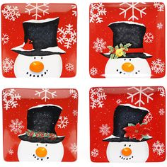 Certified International Top Hat Snowman Set of 4 Dinner Plates (€45) ❤ liked on Polyvore featuring home, kitchen & dining, dinnerware, colored dinnerware, snowman dinner plates, red dinnerware, holiday dinner plates and certified international dinnerware
