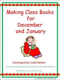 Five class books, each with cover, student template page, and data collection activity. Topics are giving gifts, holiday foods, snow activities, New Year, and Martin Luther King.  $