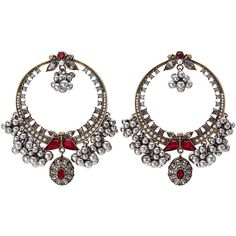 Alexander McQueen Brass Earrings (61.085 RUB) ❤ liked on Polyvore featuring jewelry, earrings, jewels, multicolored, statement earrings, tri color jewelry, alexander mcqueen earrings, multi colored jewelry and tri color earrings