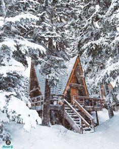 huzur#orman#yeşillik#aktivite# Winter Cabin, Cozy Cabin, Cozy Winter, Snow Cabin, Winter House, Cabin Homes, Log Homes, A Frame House, Cabins And Cottages