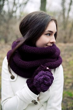 Knitted cowl in plum and rosette fingerless gloves >> Beautiful color.