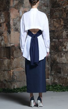 White Cotton Silk Double Weave Lucy Top by Rosie Assoulin for Preorder on Moda Operandi
