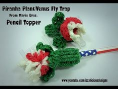 Rainbow Loom PIRANHA / VENUS FLY TRAP Pencil Topper. Designed and loomed by Kate Schultz of Izzalicious Designs. Click photo for YouTube tutorial. 05/16/14.