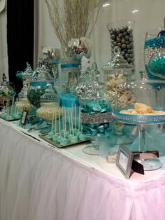 Blue, Silver and White Wedding candy table
