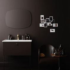 Swoon Studio Vanity Unit, Saddle Brown. With matching brown legs, leather handle and brass basin tap. Mirror Brim. #swoon #bathroom #swoonbathroom #brown #brownonbrown #furniture #leather #brass #faucet #basintap #superellipse #mirror #scandinaviandesign #newnordic