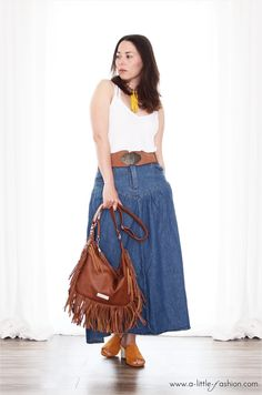 Hippie-Style Outfit mit ASOS Maxi-Jeansrock und Taillengürtel | http://www.a-little-fashion.com/fashion/hippie-denim-outfit-maxi-jeans-rock #fashion #inspiration #trend #fall #winter #summer #spring #pantone #frühjahr #sommer #herbst #style #outfit #ootd #filizity