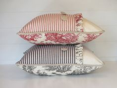 Cottage Ticking and Toile Pillow Cover Red or Black Pillow