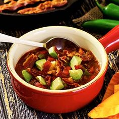 Crockpot Chili topped with bacon -- mmmm. Use nitrate-free turkey bacon, and this ground beef chili serves 9 for Phase 1 (without avocado on top) or Phase 3.