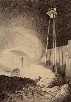 Pulp, Pulp-like, Digests, and Paperback Art, HENRIQUE ALVIM CORRÊA (Brazilian, 1876-1910). Martian ViewingVapor Cloud, from The War of the Worlds, Belgiumediti...