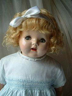 """24"""" Life Size American FLIRTY EYE Doll With Original Blonde Mohair Wig and WORKING Crier Box!"""