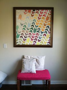 Chevron Paint Chip Art: Add some color to your walls with this DIY art made from paint chips cut up into a chevron pattern! Paint Swatch Art, Paint Chip Art, Paint Swatches, Paint Chips, Color Swatches, Diy Wand, Diy And Crafts Sewing, Easy Diy Crafts, Art Crafts