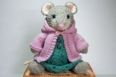 Knitted Mouse Toy in Springtime Dress and Hoodie Sweater