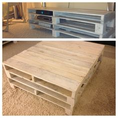White-washed recycled pallets!  For beach themed living room, coffee table & TV stand.