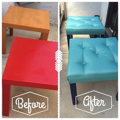 DIY Ottomans from IKEA Lack tables                                                                                                                                                      More