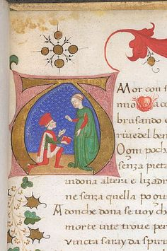 Detail of a historiated initial of a lover presenting his verses to a lady from a fifteenth-century Italian book of love sonnets; to the right is a small flaming heart, a symbol of burning love (Kings 322 f.1). (British Library)