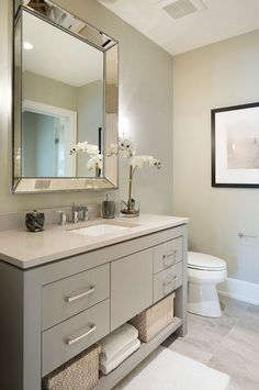 Vanity paint color is Sherwin Williams SW 7673 Pewter Cast. Guest Bathroom Remodel, Bathroom Renos, Grey Bathrooms, Bath Remodel, Beautiful Bathrooms, Bathroom Renovations, Bathroom Interior, Small Bathroom, Master Bathroom