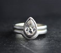 Sterling Silver Pear Shape White Topaz Ring Solitaire White