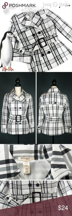 """🍁NEW LISTING🍁Black & White  Pea Coat Size Small Sooooo Sharp! Excellent condition with little wear. Medium weight with lining inside. Double breasted and buckle belt. Pockets on side. ● Size Small. Length 26"""", Bust 18"""" laid flat. Seems to fit more like a Medium. My dress form is Medium so you can judge by that. ● 67% Cotton, 33% Polyester. Machine wash cold, hang to dry. ● Bundle 2 or more items for 15% off.  Free shipping for orders over $100. Smoke-free home and fast shipper! Ambiance…"""