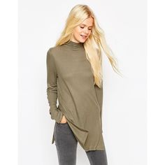 ASOS Tunic With Side Split And Polo Neck (£16) ❤ liked on Polyvore featuring tops, tunics, khaki, asos tops, asos tunic, asos turtleneck, ribbed turtleneck and brown tops