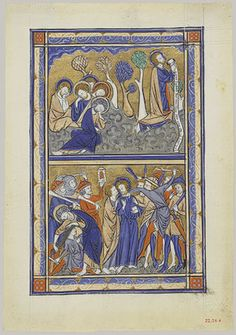 "Manuscript Leaf From A Psalter: ""Agony In The Garden & Betrayal Of Christ"" -- Circa 1270 -- English -- Tempera, ink & metal leaf on vellum -- Heilbrunn Timeline Of Art History via the Metropolitan Museum of Art Medieval Manuscript, Medieval Art, Illuminated Manuscript, Medieval Books, Medieval Times, Fine Art Prints, Framed Prints, Canvas Prints, Agony In The Garden"